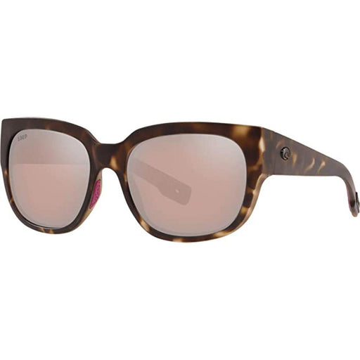 Costa Del Mar Womens Waterwoman Matte Shadow Tortoise Frame Copper Silver Mirror Polarized Lens Rectangular Sunglasses - WTW249OSCP - WatchCo.com