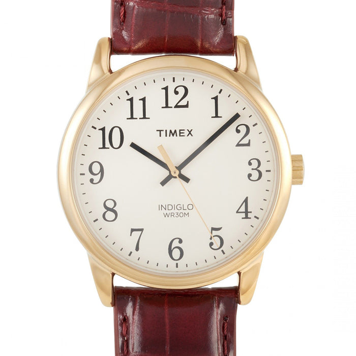 TIMEX Mens Eggshell Dial Gold-Tone Brown Leather Strap Watch - TW2R295