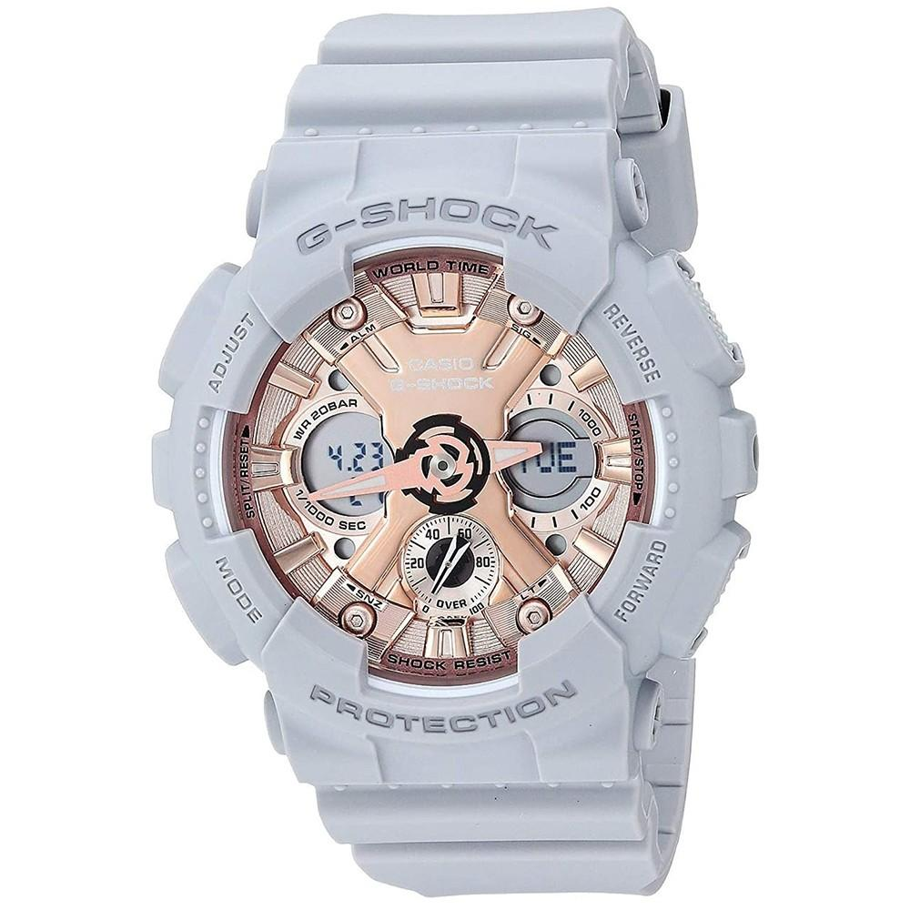 Casio Women's G-Shock Gray Resin Band Rose Gold Analog-Digital Dial Quartz Watch - GMA-S120MF-8ACR