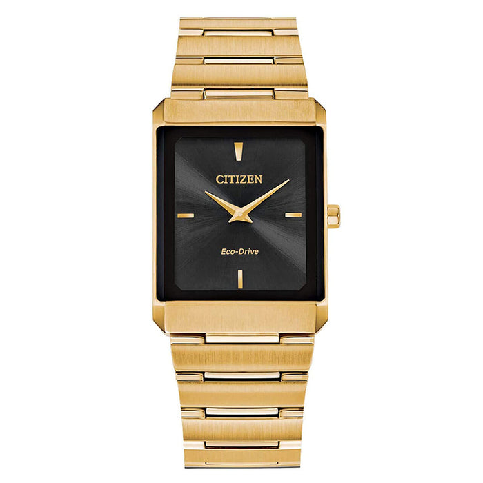Citizen Unisex Stiletto Eco Drive Black Dial Yellow Gold Stainless Steel Bracelet Watch - AR3102-51E