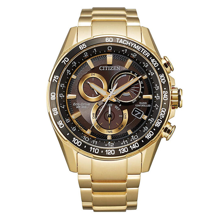 Citizen Mens Eco-Drive Chronograph Gold-Tone Stainless Steel Bracelet Black Dial Watch - CB5912-50E