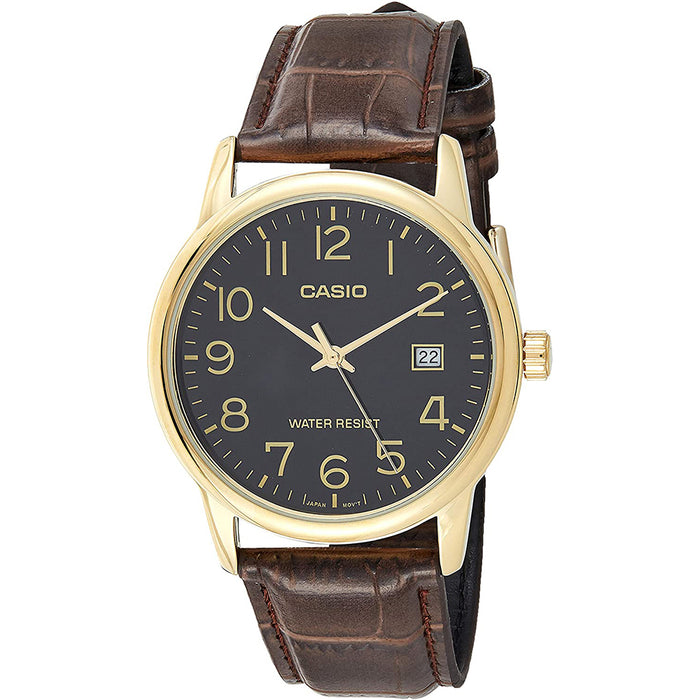 Casio Mens Brown Leather Strap Easy Reader Black Dial Analog Quartz Watch - MTP-V002GL-1BUDF