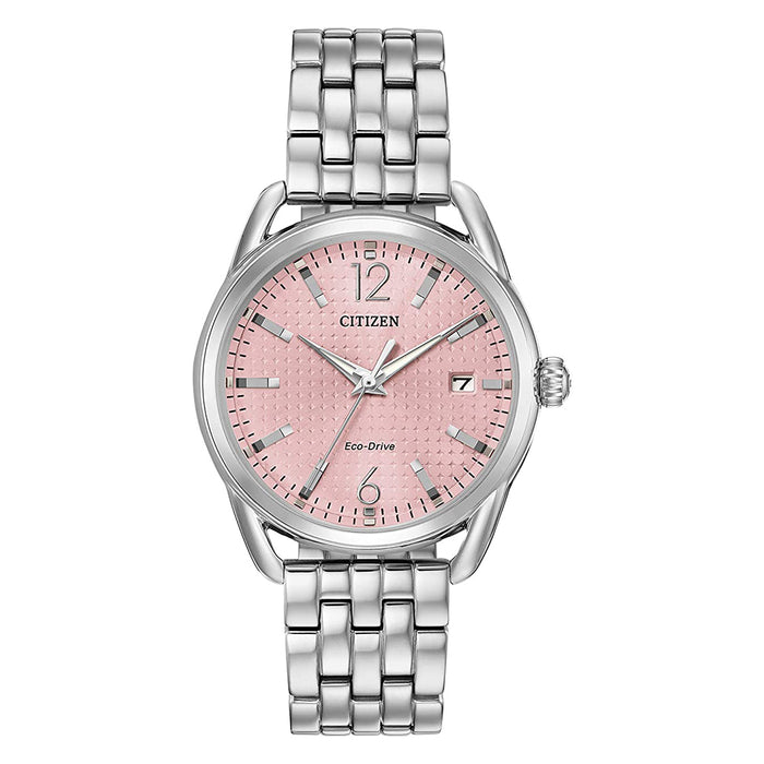 Citizen Womens Drive Quartz Light Pink Dial Silver Stainless Steel Strap Watch - FE6080-71X