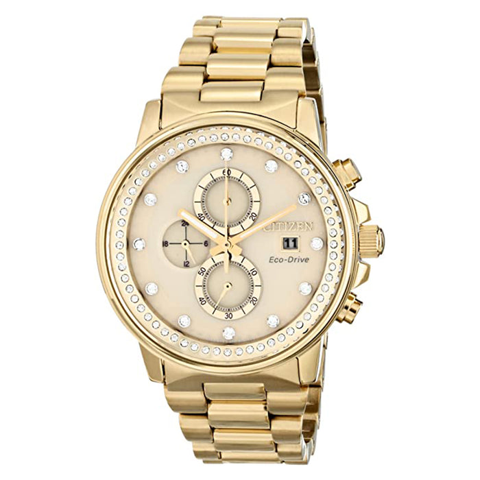 Citizen Unisex Nighthawk Eco-Drive Beige Dial Gold Band Stainless Steel Gold-Tone Chronograph Watch - FB3002-53P