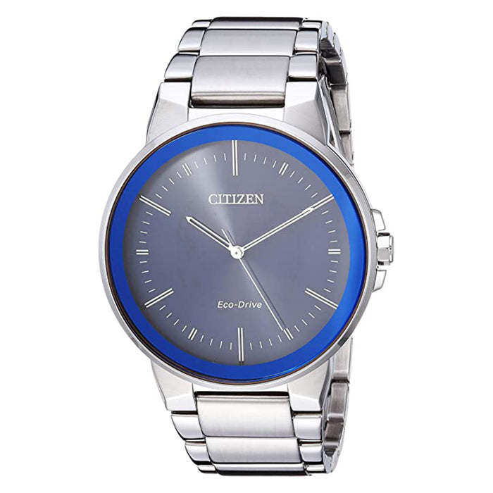 Citizen Men's Eco-Drive Japanese-Quartz Blue Dial Silver Band Stainless-Steel Strap Watch - BJ6510-51L