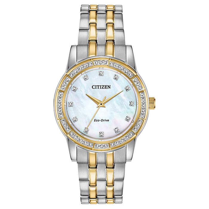 Citizen  Womens Silhouette Crystal White Dial Two Tone Stainless Steel Band Watch - EM0774-51D