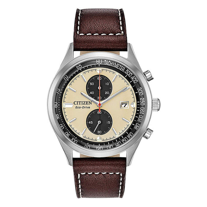 Citizen Mens Chandler Eco-drive Beige Dial Brown Band Stainless Steel Chronograph Watch - CA7020-07A
