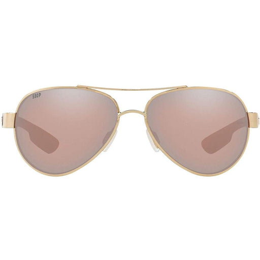 Costa Del Mar Womens Loreto Rose Gold Frame Copper Silver Mirror Polarized Lens Aviator Sunglasses - LR64OSCP - WatchCo.com