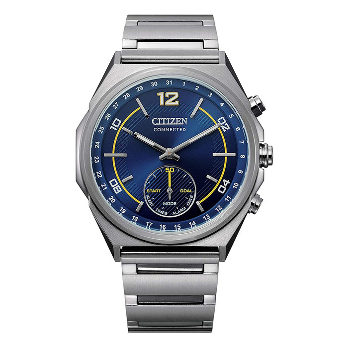 Citizen Mens Technology Quartz Blue Dial Silver Band Stainless Steel Strap Watch - CX0000-55L