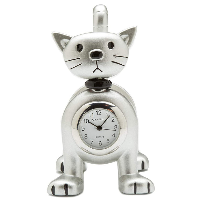TOKYObay Silver Cat Clock - C491-MS