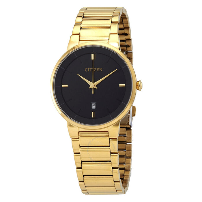 Citizen Mens Stainless Steel Case and Bracelet Black Dial Gold Watch - BI5012-53E