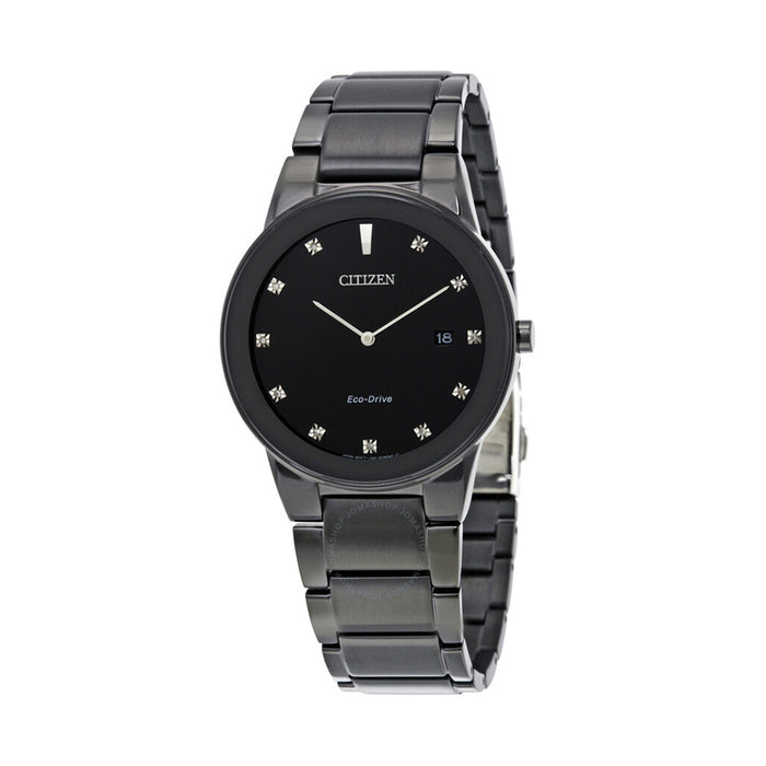 Citizen Eco-Drive Mens Axiom Stainless Steel Case and Bracelet Black Dial Watch - AU1065-58G
