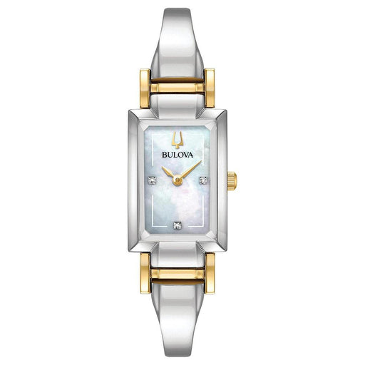 Bulova Womens Diamond Accent Two-Tone Stainless Steel Half-Bangle Mother-of-pearl Dial Quartz Watch - 98P188 - WatchCo.com