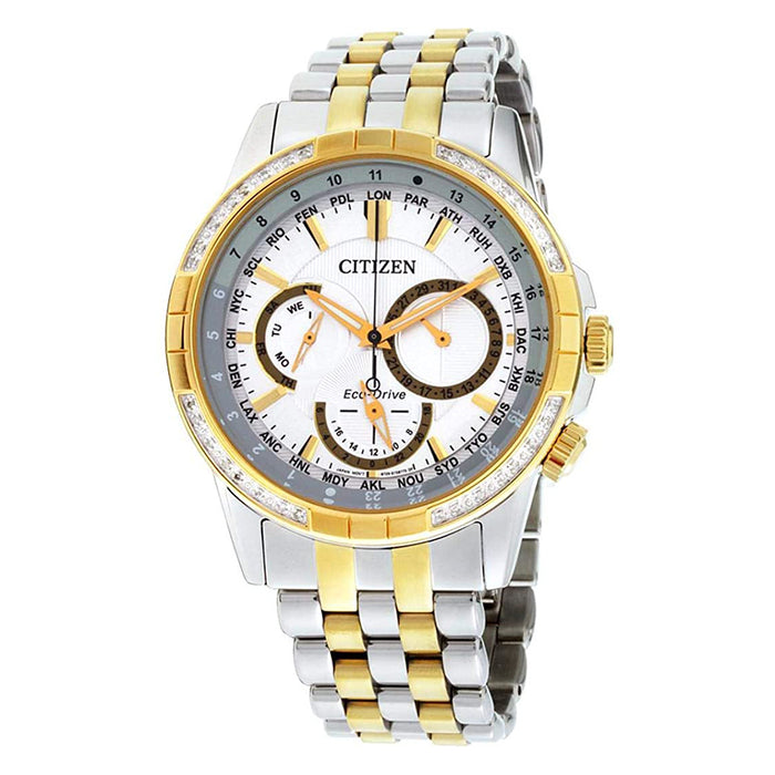 Citizen Mens Calendrier Eco-Drive White Dial Silver Band Stainless Steel Diamond Watch - BU2084-51A