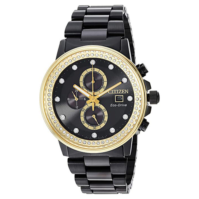 Citizen Mens Chandler Black Dial Band Chronograph Stainless Steel Watch - FB3008-57E