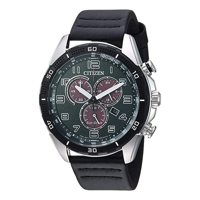Citizen Mens Eco-Drive Green Dial Black Band Chronograph CHR Drive Black Watch - AT2441-08X