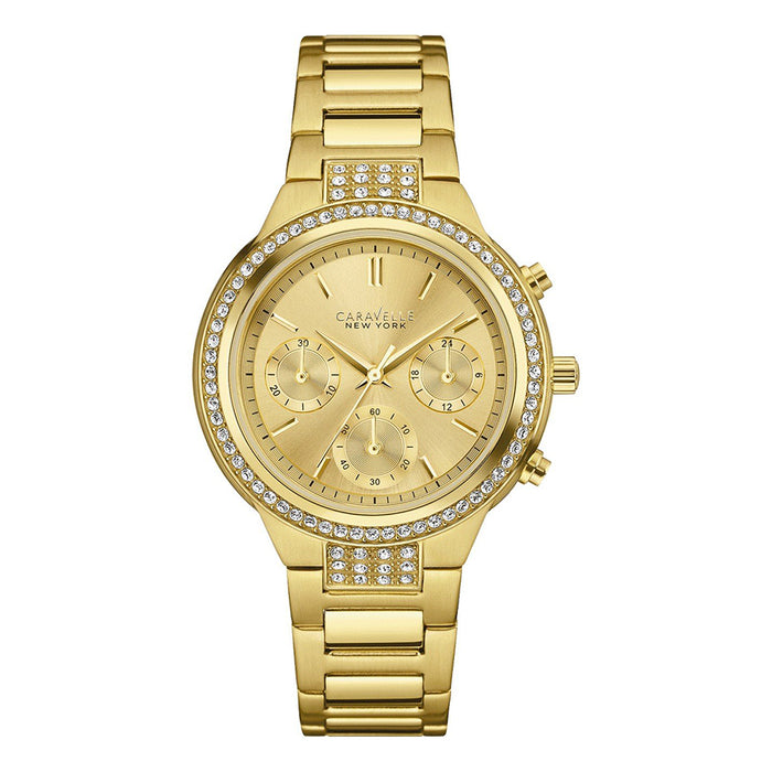 Caravelle New York Womens Chronograph Stainless Steel Case and Bracelet Gold Watch - 44L179