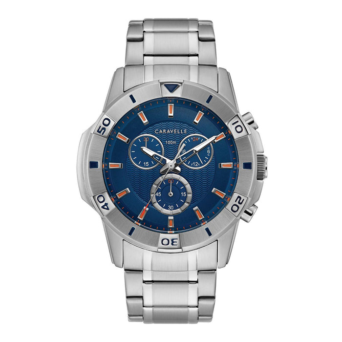Caravelle Mens Silver-Tone Stainless Steel Bracelet Band Chronograph Blue Dial Watch - 43B171