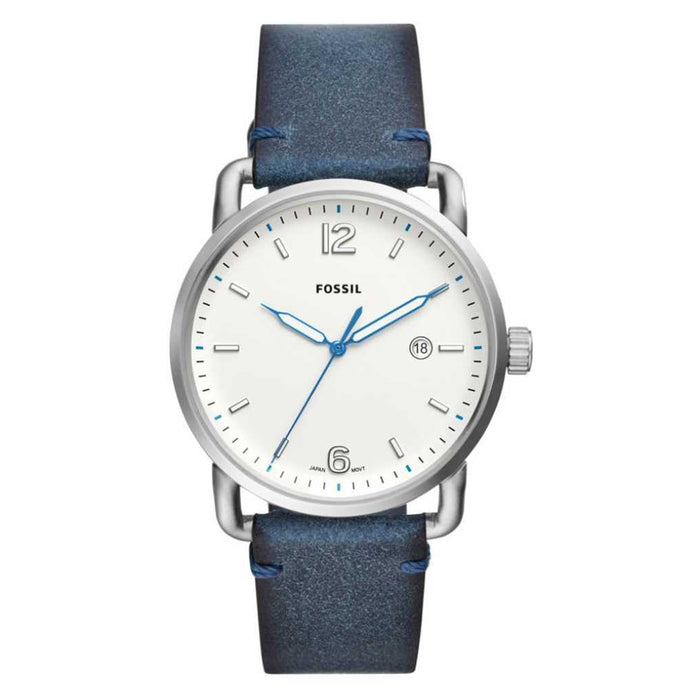 Fossil Commuter Unisex Blue Leather Band Three-Hand White Quartz Dial Watch - FS5432