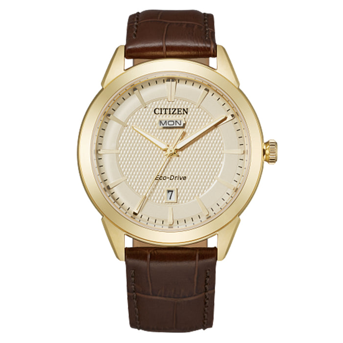 Citizen Mens Eco-Drive Corso 18K Gold Plate Champagne Dial Strap Watch - AW0092-07Q