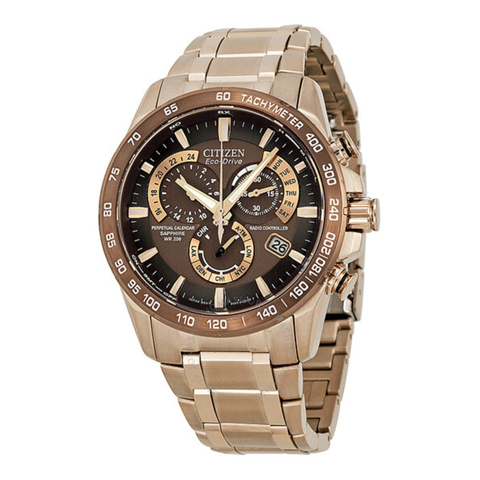 Citizen Mens Eco-Drive Perpetual Chrono A-T Atomic Stainless Watch - Gold Bracelet - Brown Dial - AT4106-52X