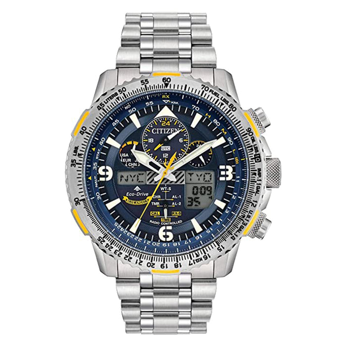 Citizen Mens Eco-Drive Promaster Blue Dial Angels Skyhawk AT Silver Band Titanium Watch - JY8101-52L
