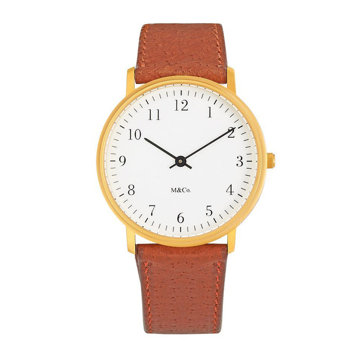 Projects Mens M&Co Bodoni Brass Analog Brass Watch - Brown Leather Strap - White Dial - 7401BR-BR
