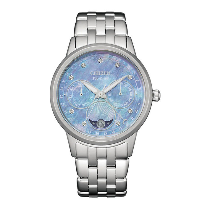 Citizen Womens Calendrier Diamond Mother-of-Pearl Dial Stainless Case Bracelet Watch - FD0000-52N