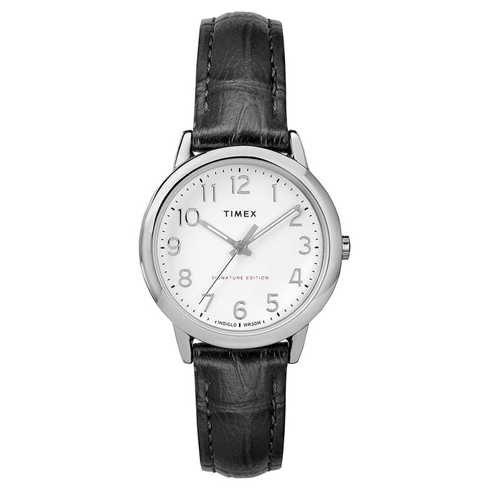 Timex Womens Easy Reader White Dial Black Leather Strap Watch - TW2R65300
