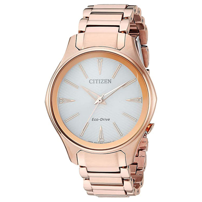 Citizen Womens Eco-Drive Japanese-Quartz Silver Dial Pink Band Stainless-Steel Strap Watch - EM0593-56A