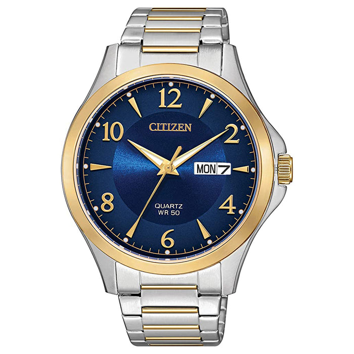 Citizen Mens Japanese-Quartz Blue Dial Two Tone Band Stainless-Steel Strap Casual Watch - BF2005-54L