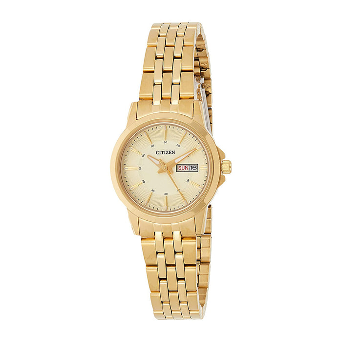 Citizen Quartz Womens Japanese Quartz Stainless Steel Case and Bracelet Champagne Dial Gold Watch - EQ0603-59P