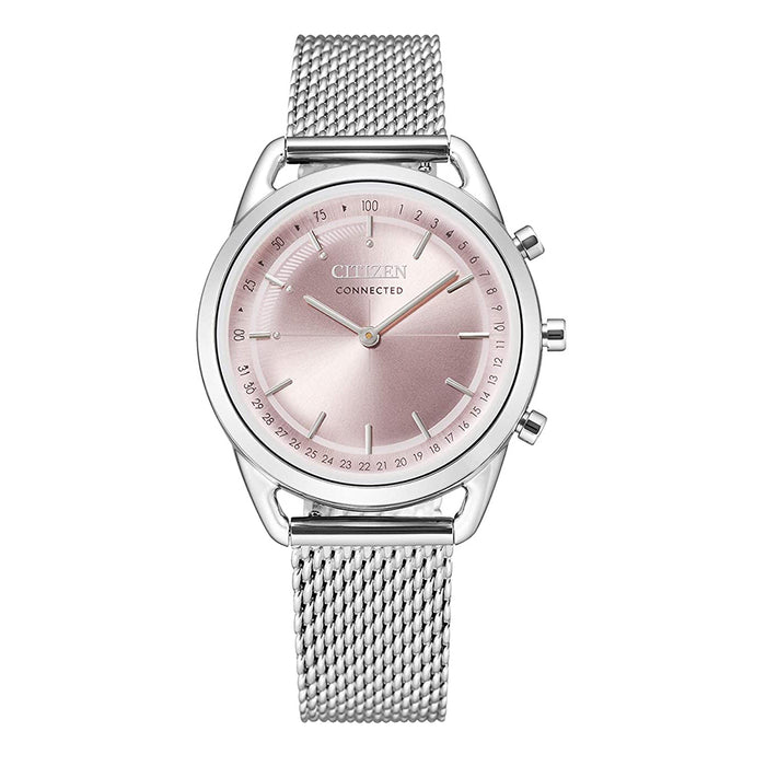 Citizen Womens Pink Dial Silver Band Stainless Steel Mesh Bracelet Watch - HX0000-59X