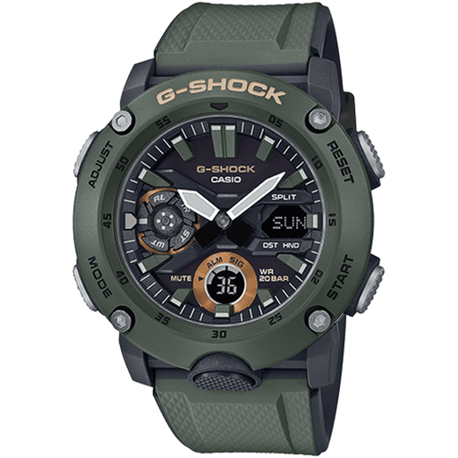 Casio Mens G-Shock Carbon Core Guard Olive Resin Band Black Analog-Digital Dial Quartz Watch - GA2000-3A - WatchCo.com