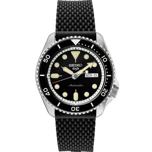 Seiko Mens 5 Sports Silicone Strap Black Dial Automatic Watch - SRPD95 - WatchCo.com