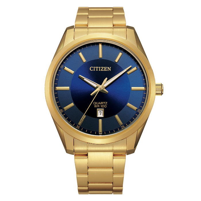 Citizen 20 Casual Men's Gold Stainless Steel Band Blue Quartz Dial Watch - BI1032-58L