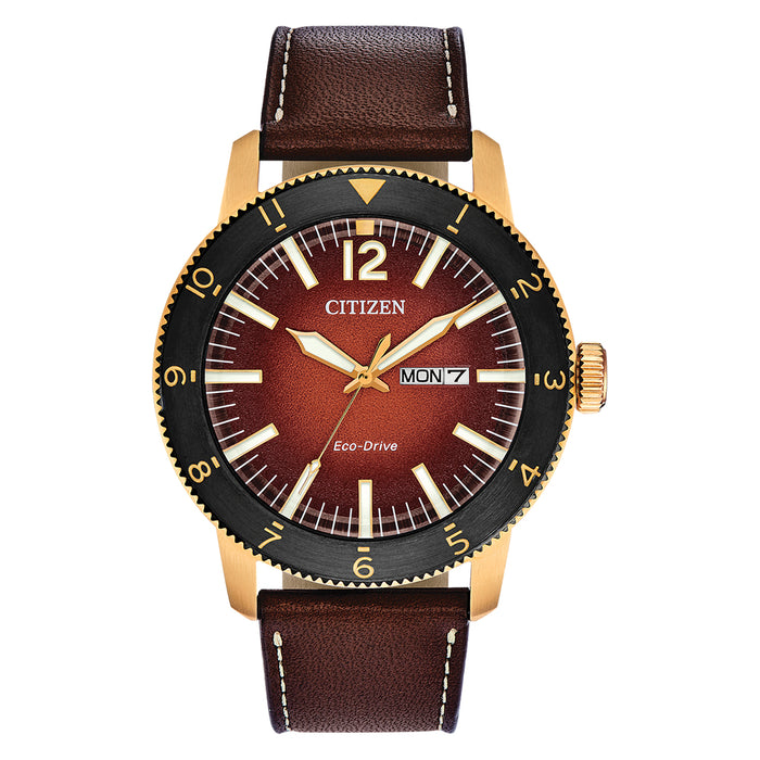 Citizen Mens Eco-drive Orange Dial Brown Band Brycen Stainless Steel Leather Strap Watch - AW0076-03X