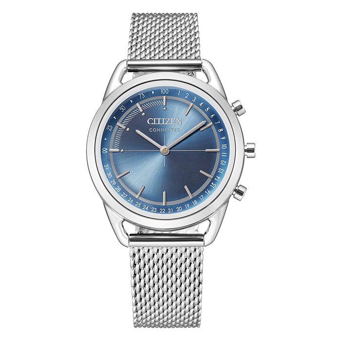 Citizen Mens Blue Dial Silver Dress Band Stainless Steel Watch - HX0000-59L
