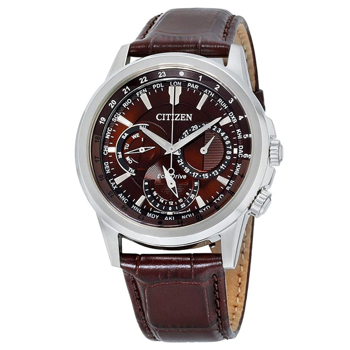 Citizen Mens Calendrier Eco-Drive Brown Dial Leather Band Wrist Watch - BU2020-29X