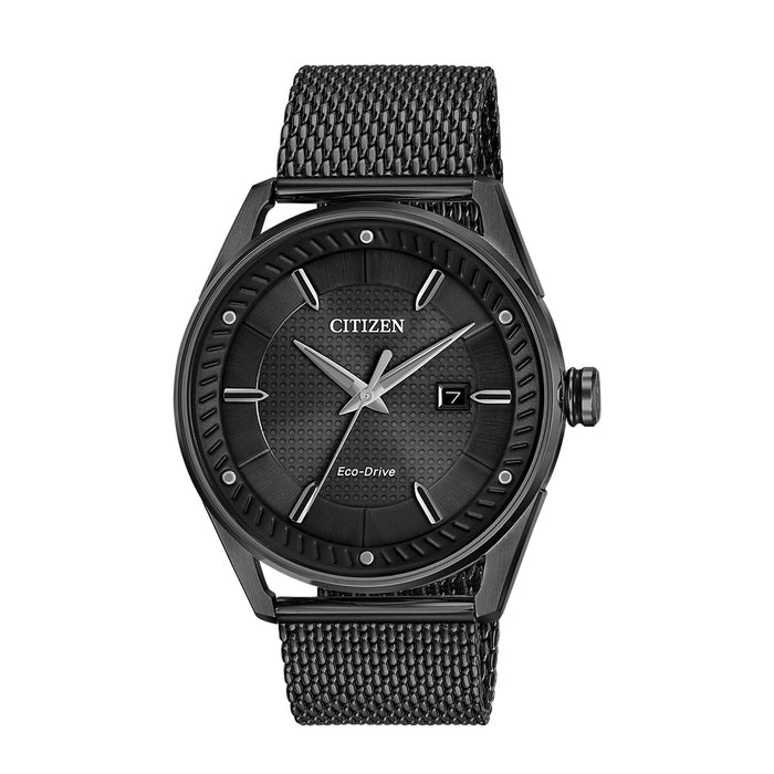 Citizen Mens Black Stainless Steel Strap Black Quartz Dial Watch - BM6988-57E