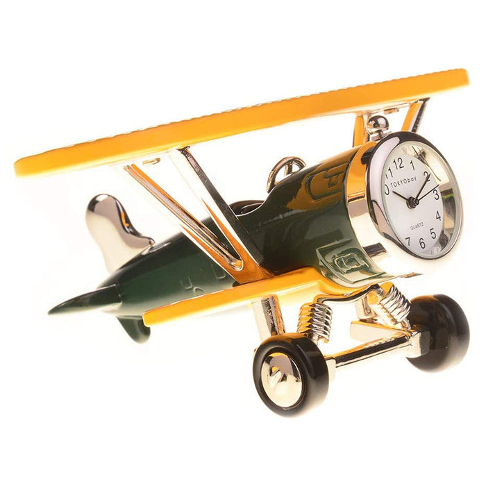 TOKYObay Biplane Green Yellow Clock - C3569-GRYL