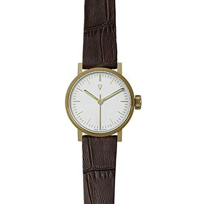 Void Womens Stainless Steel Case Brown Leather White Dial Brown Watch - V03P-GO/CB/WH