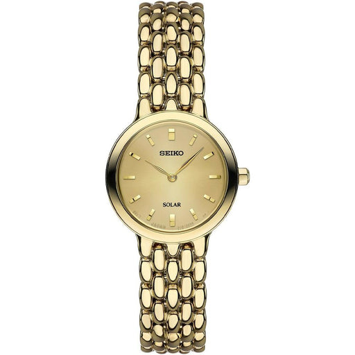 Seiko Womens Solar Stainless Steel Bracelet Gold Dial Japanese Quartz Watch - SUP352 - WatchCo.com