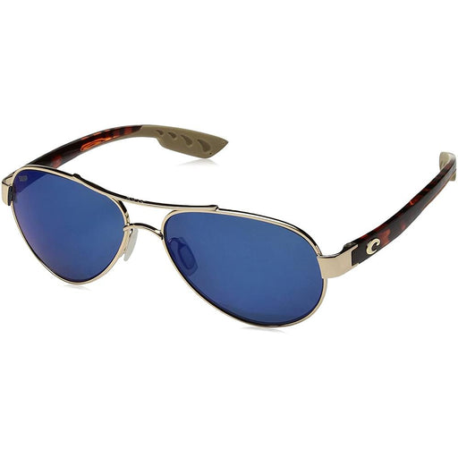 Costa Del Mar Womens Loreto Rose Gold Frame Blue Mirror Polarized Lens Aviator Sunglasses - LR64OBMGLP - WatchCo.com