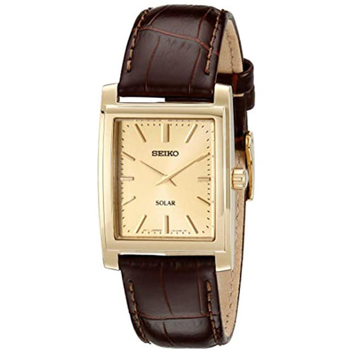 Seiko Mens Solar Brown Leather Champagne Dial Quartz Watch - SUP896 - WatchCo.com