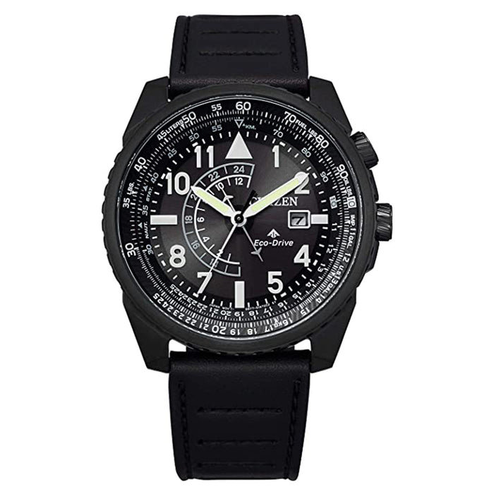 Citizen Mens Eco-Drive Promaster Nighthawk Black Dial Leather Strap Watch - BJ7135-02E