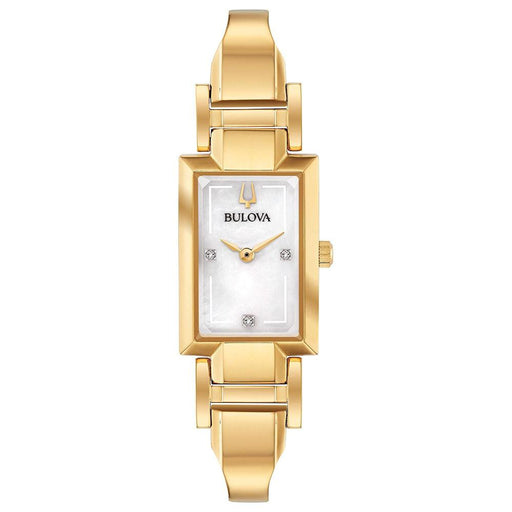 Bulova Womens Diamond Accent Gold-Tone Stainless Steel Half-Bangle Mother-of-pearl Dial Quartz Watch - 97P141 - WatchCo.com