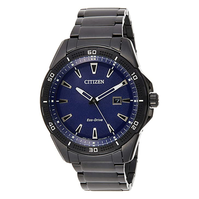 Citizen Mens Drive Quartz Blue Dial Black Stainless Steel Strap Casual Watch - AW1585-55L