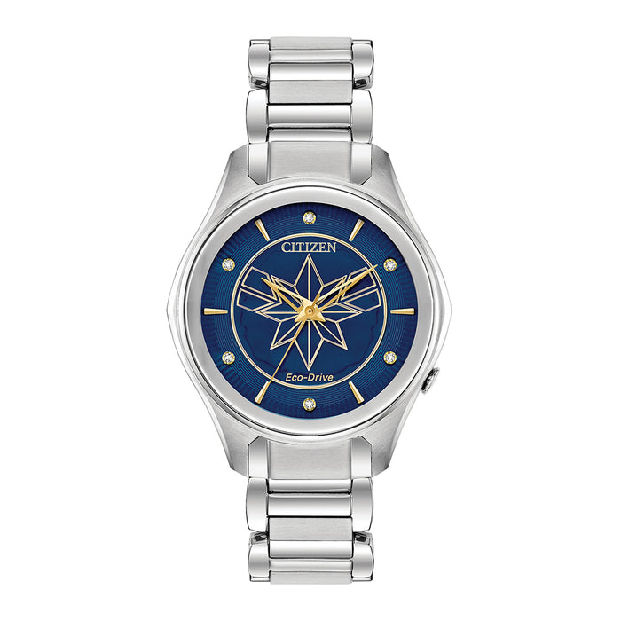 Citizen Eco-Drive Captain Marvel Womens Silver Stainless Steel Band Blue Quartz Dial Watch - EM0596-58W