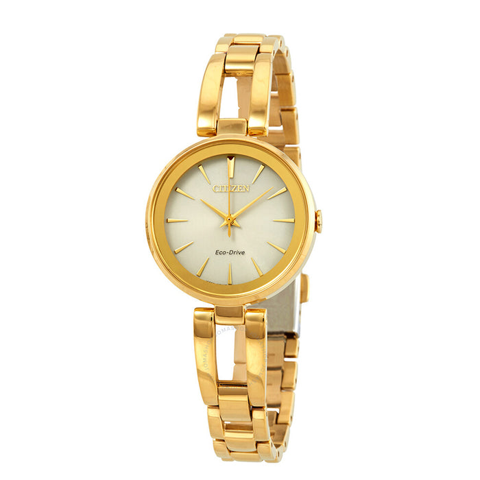 Citizen Eco-Drive Womens Gold-Tone Stainless Steel Band Quartz Dial Watch - EM0638-50P